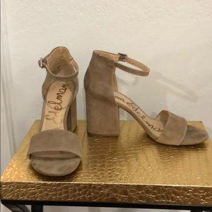 Sam Edelman tan suede sandal with block heel